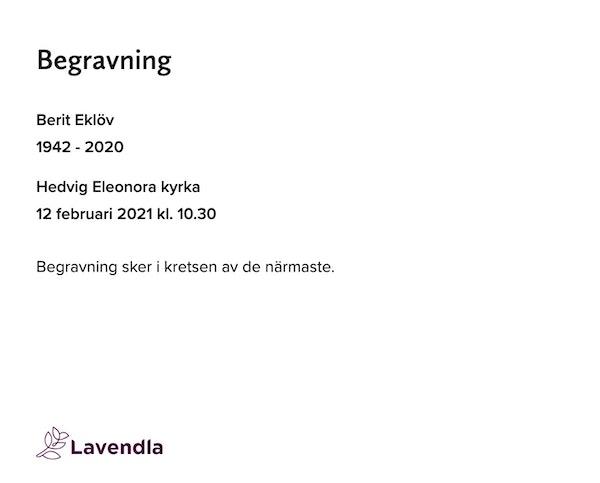 Inbjudningskort till ceremonin för Berit Eklöv