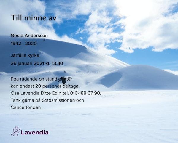 Inbjudningskort till ceremonin för Gösta Andersson