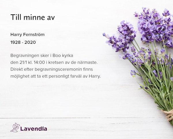Inbjudningskort till ceremonin för Harry Fernström