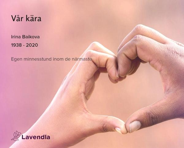 Inbjudningskort till ceremonin för Irina Baikova