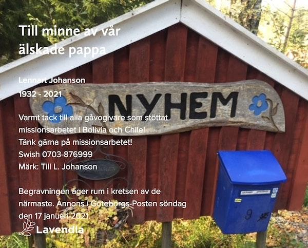 Inbjudningskort till ceremonin för Lennart Johanson
