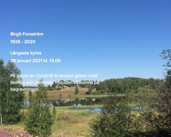 Inbjudningskort till ceremonin för Birgit Forsström