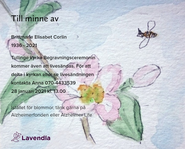 Inbjudningskort till ceremonin för Brittmarie Elisabet Corlin