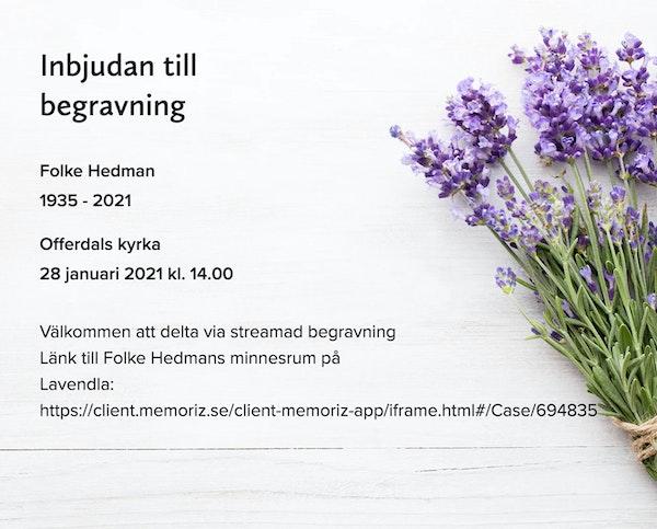 Inbjudningskort till ceremonin för Folke Hedman