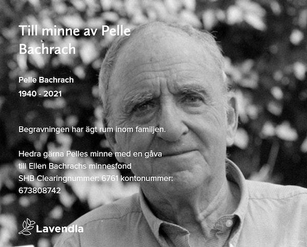 Inbjudningskort till ceremonin för Pelle Bachrach