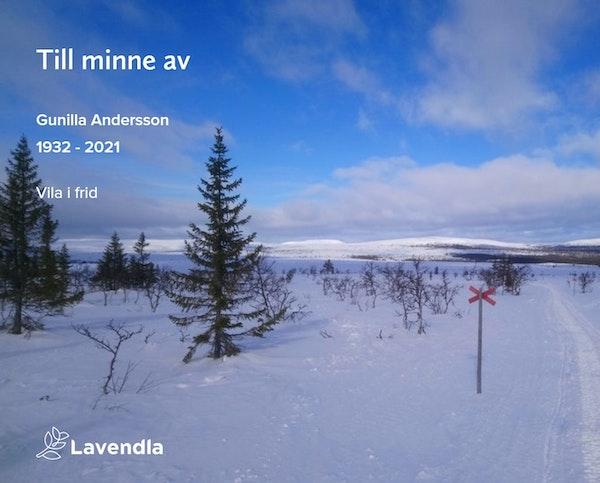 Inbjudningskort till ceremonin för Gunilla Andersson