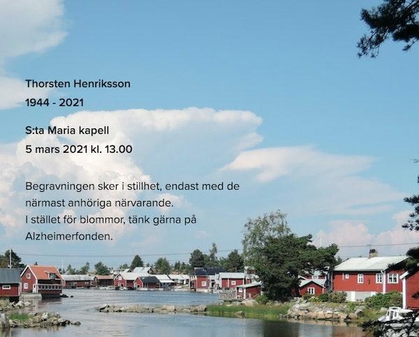 Inbjudningskort till ceremonin för Thorsten Henriksson