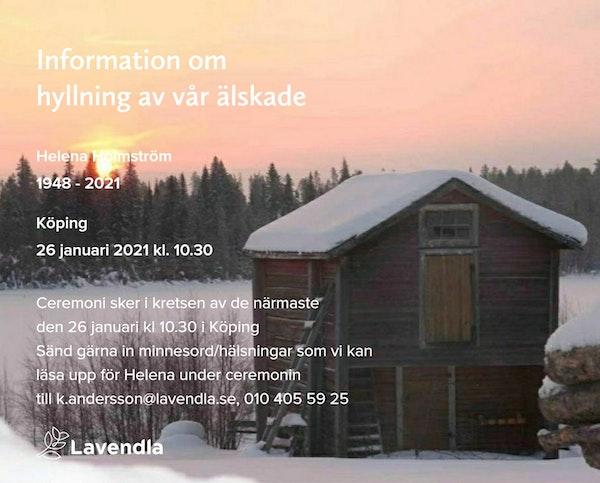 Inbjudningskort till ceremonin för Helena Holmström