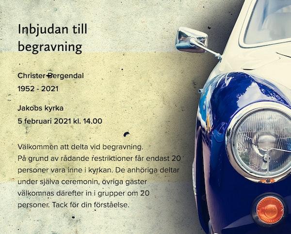 Inbjudningskort till ceremonin för Christer Bergendal