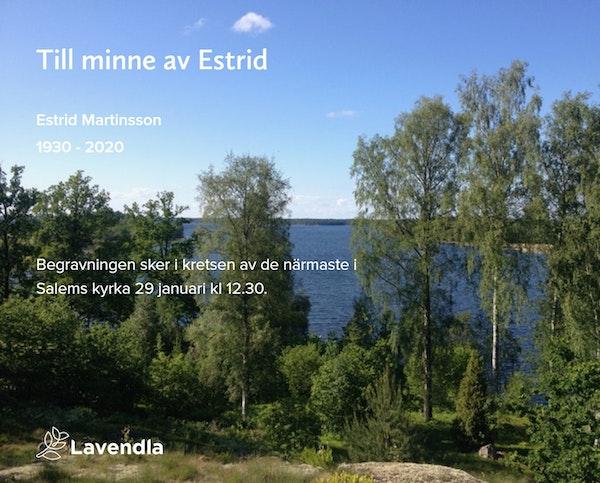 Inbjudningskort till ceremonin för Estrid Martinsson