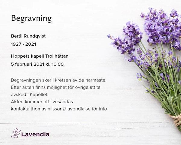 Inbjudningskort till ceremonin för Bertil Rundqvist