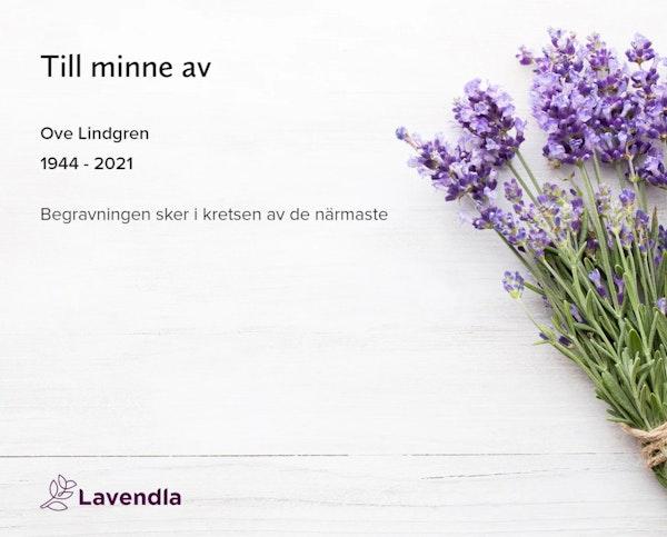 Inbjudningskort till ceremonin för Ove Lindgren