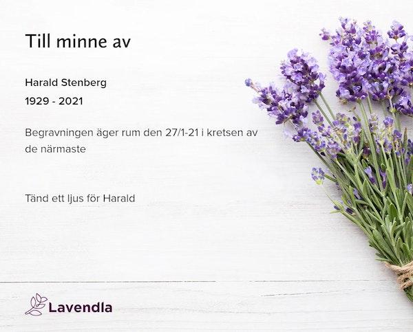 Inbjudningskort till ceremonin för Harald Stenberg