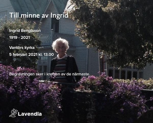 Inbjudningskort till ceremonin för Ingrid Bengtsson