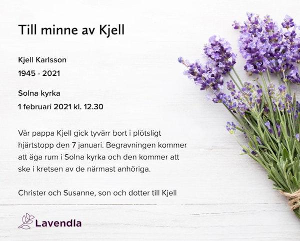 Inbjudningskort till ceremonin för Kjell Karlsson