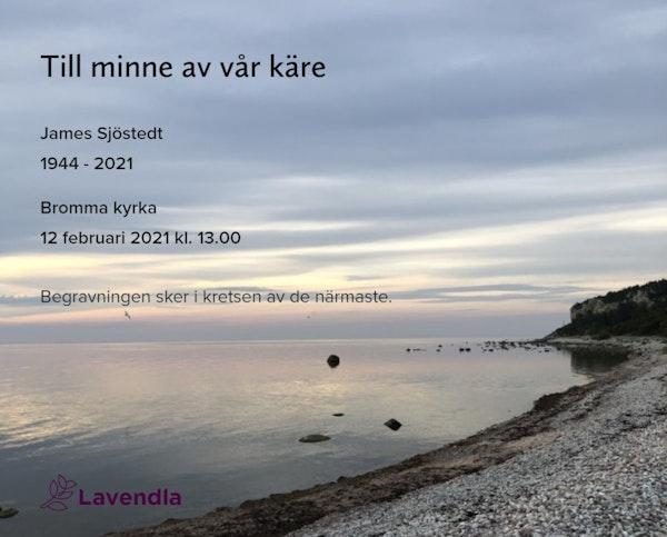 Inbjudningskort till ceremonin för James Sjöstedt