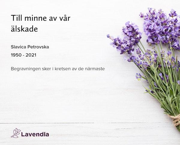 Inbjudningskort till ceremonin för Slavica Petrovska