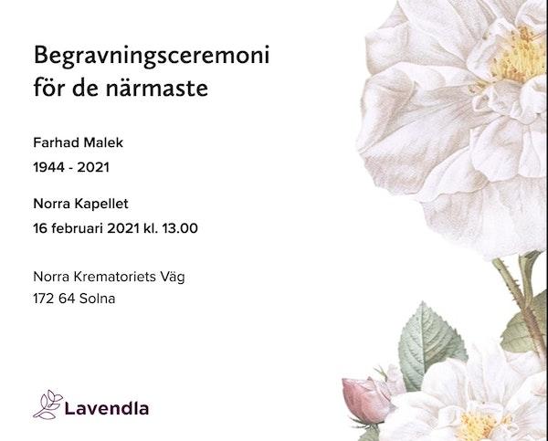 Inbjudningskort till ceremonin för Farhad Malek