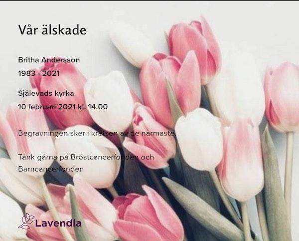 Inbjudningskort till ceremonin för Britha Andersson
