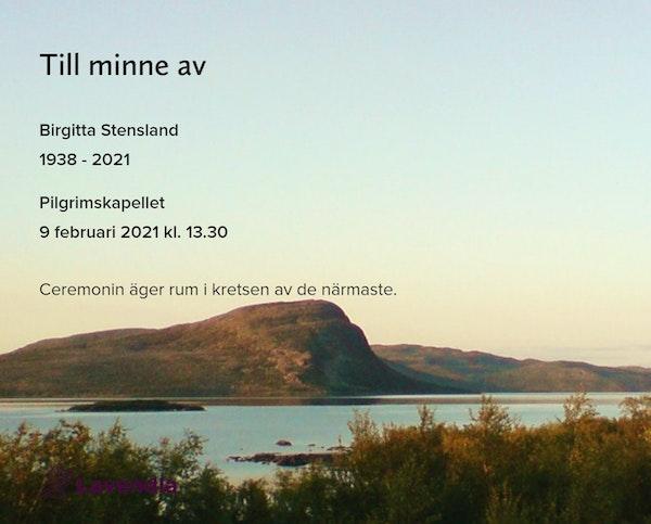 Inbjudningskort till ceremonin för Birgitta Stensland