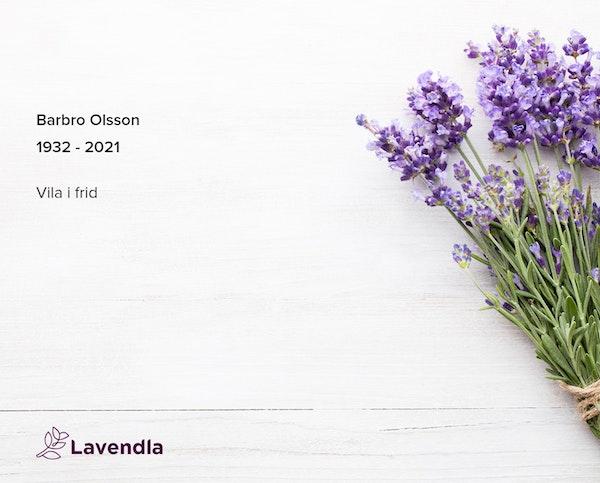 Inbjudningskort till ceremonin för Barbro Olsson