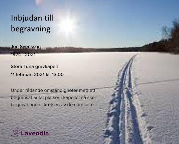 Inbjudningskort till ceremonin för Jon Svensson