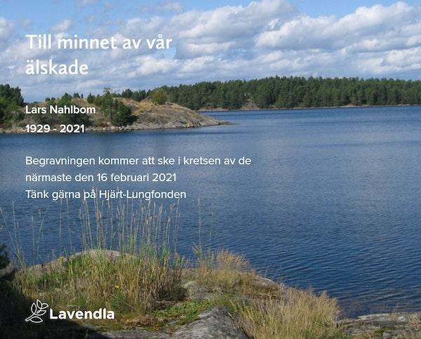 Inbjudningskort till ceremonin för Lars Nahlbom