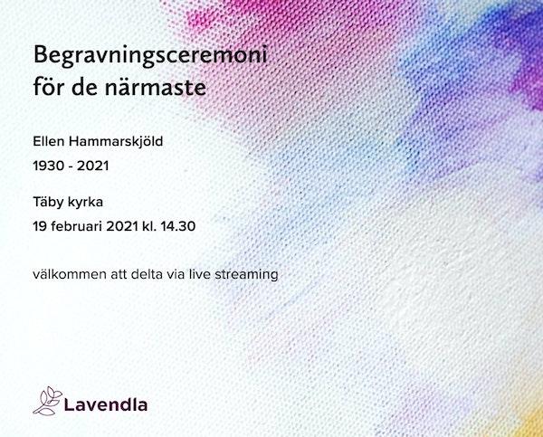 Inbjudningskort till ceremonin för Ellen Hammarskjöld