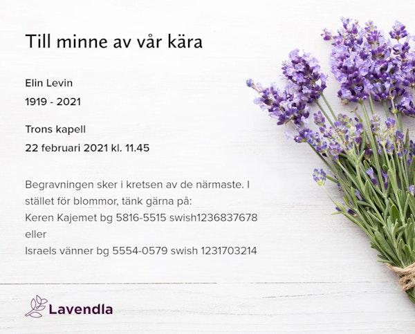 Inbjudningskort till ceremonin för Elin Levin
