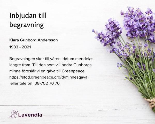 Inbjudningskort till ceremonin för Klara Gunborg Andersson