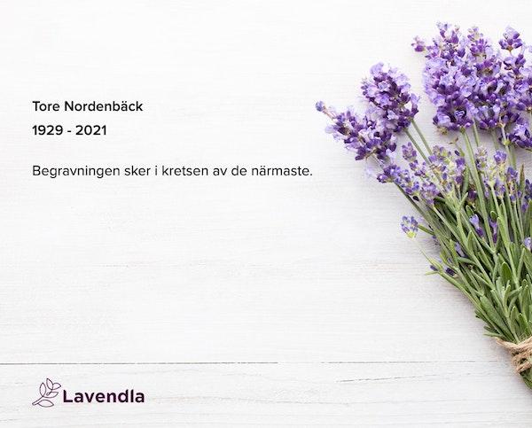 Inbjudningskort till ceremonin för Tore Nordenbäck