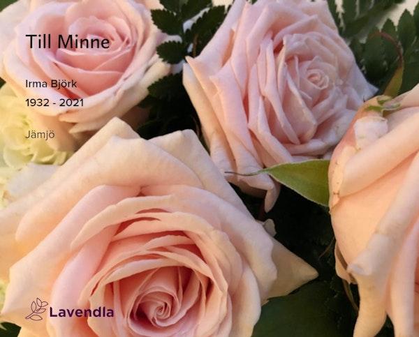 Inbjudningskort till ceremonin för Irma Björk