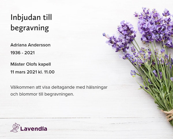 Inbjudningskort till ceremonin för Adriana Andersson