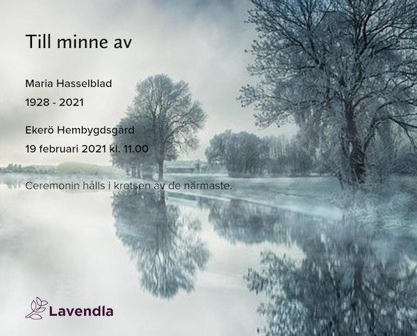 Inbjudningskort till ceremonin för Maria Hasselblad