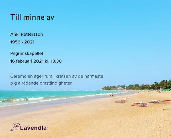 Inbjudningskort till ceremonin för Anki Pettersson