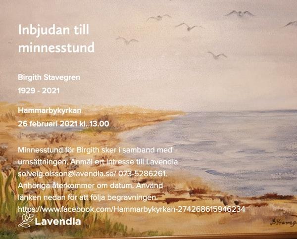 Inbjudningskort till ceremonin för Birgith Stavegren