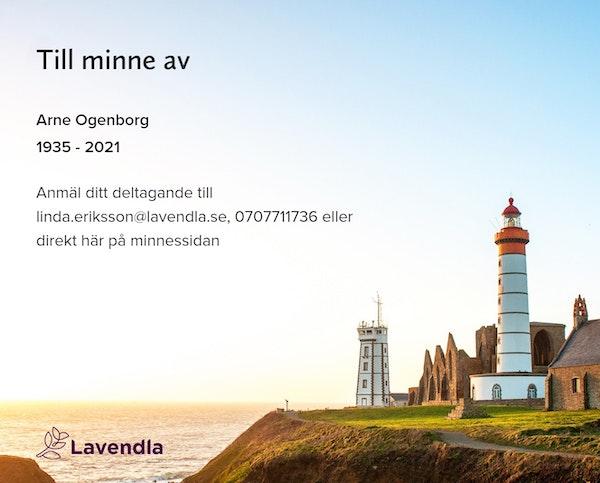 Inbjudningskort till ceremonin för Arne Ogenborg