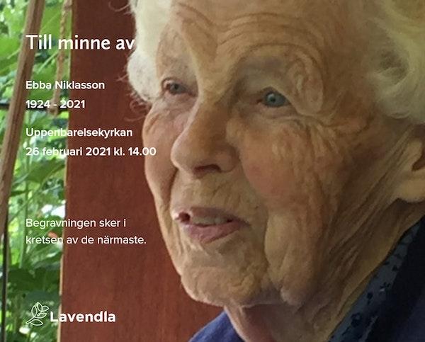 Inbjudningskort till ceremonin för Ebba Niklasson