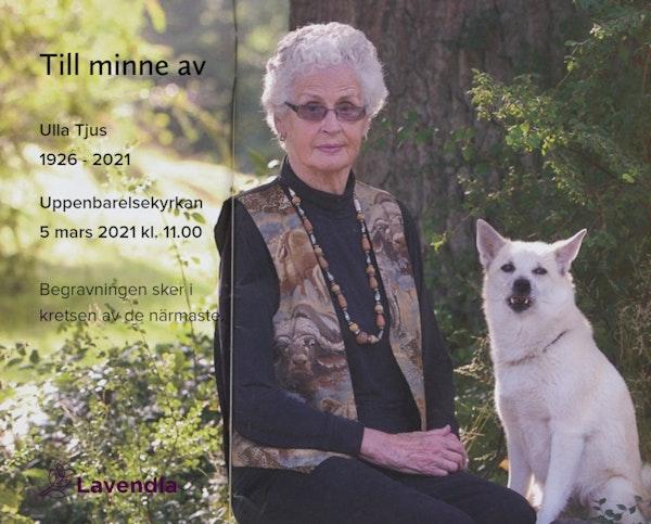 Inbjudningskort till ceremonin för Ulla Tjus