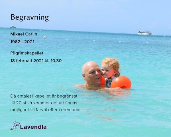 Inbjudningskort till ceremonin för Mikael Carlin