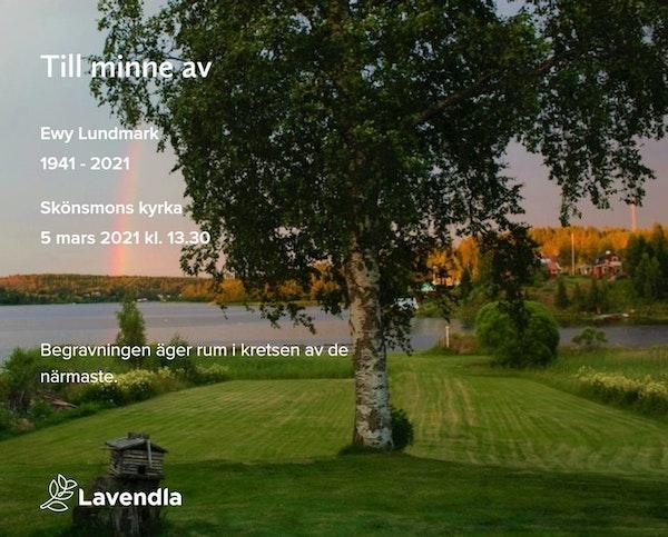 Inbjudningskort till ceremonin för Ewy Lundmark