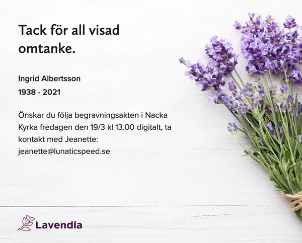 Inbjudningskort till ceremonin för Ingrid Albertsson