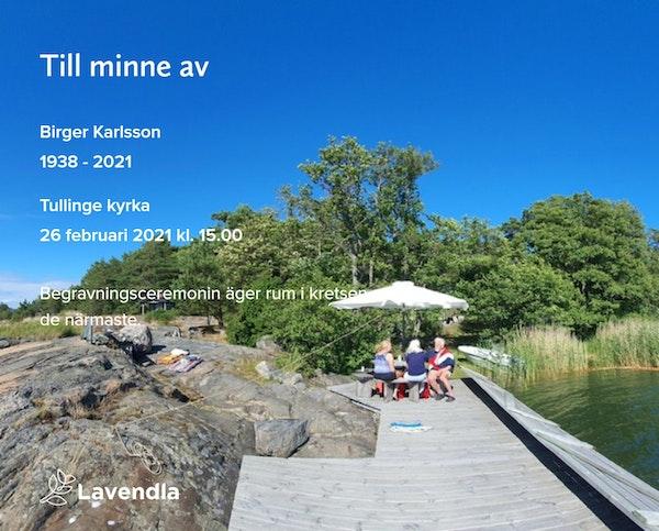 Inbjudningskort till ceremonin för Birger Karlsson