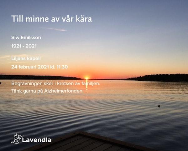 Inbjudningskort till ceremonin för Siw Emilsson