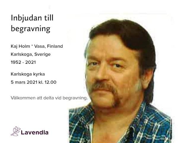 Inbjudningskort till ceremonin för Kaj Holm * Vasa, Finland Karlskoga, Sverige