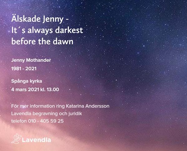 Inbjudningskort till ceremonin för Jenny Mothander