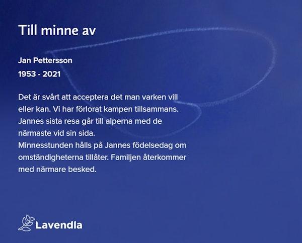 Inbjudningskort till ceremonin för Jan Pettersson