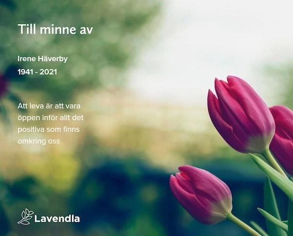 Inbjudningskort till ceremonin för Irene Häverby