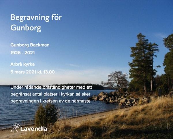 Inbjudningskort till ceremonin för Gunborg Backman