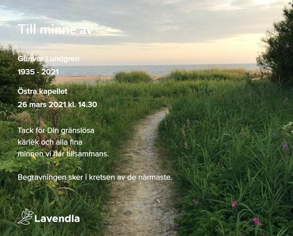 Inbjudningskort till ceremonin för Gunvor Lundgren